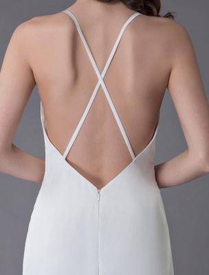 Beach Wedding Dresses Sexy Bridal Dress High Split Ivory Sheath Straps Summer Wedding Gowns Exclusive_10