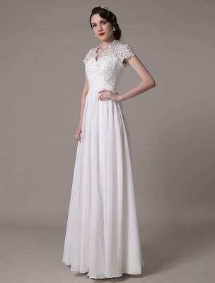 Sheath Wedding Dress V-Neck Lace Chiffon Pleated Floor Length Bridal Dress Exclusive_5