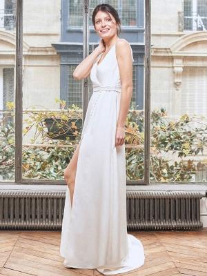 Robe de mariée simple blanche Tissu en satin Col en V Boutons sans manches Split A-Line Robes de mariée longues_2