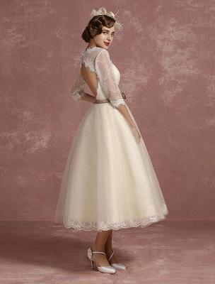 Vintage Brautkleid Kurze Spitze Tüll Brautkleid Halbarm V-Ausschnitt Backless A-Linie Blume Schärpe Tee Länge Brautkleid Exklusiv_1