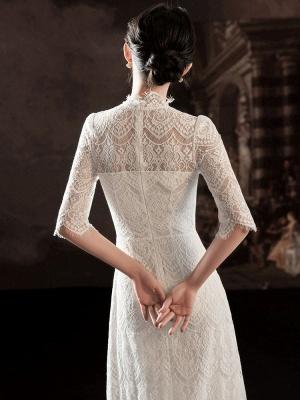 Weißes einfaches Brautkleid A-Linie Jewel Neck Half Sleeves Lace Tee Länge Brautkleider_4