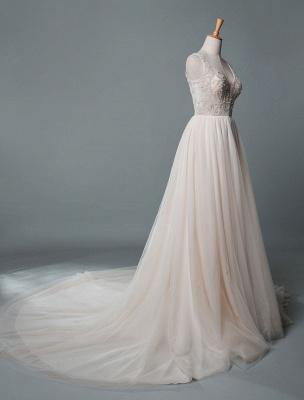 Einfaches Hochzeitskleid A-Linie V-Ausschnitt ärmellose Applikationen Perlen bodenlangen Brautkleider_2