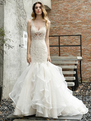 Wedding Bridal Gowns Mermaid Sleeveless V Neck Lace Bridal Gowns With Train_5