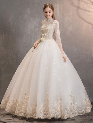 Tulle-Wedding-Dresses-Princess-Bridal-Gown-Illusion-Collar-Half-Sleeve-Floor-Length-Bridal-Dress_3