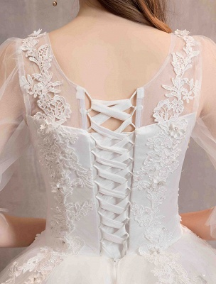 Tüll Brautkleid Elfenbein Spitze Applique Blumendetail Halbarm Prinzessin Brautkleid_7