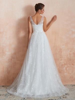 Wedding Dress 2021 A Line V Neck Sleeveless Floor Length Bridal Gowns With Train_2