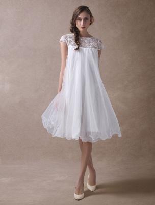 Simple Wedding Dresses Short Empire Waist Lace Tulle Cap Sleeve Pregnant Bridal Dress Exclusive_6