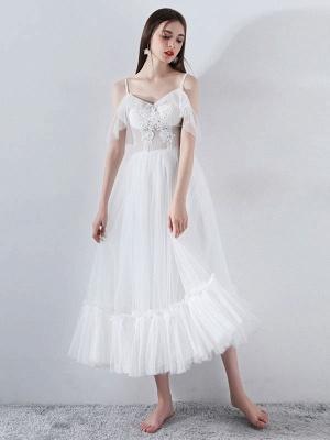 Short Wedding Dress 2021 A Line V Neck Short Sleeves Tea Length Bridal Dresses_3