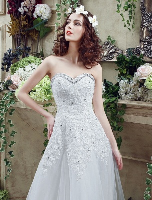 Tulle Wedding Dress Lace Beading Bridal Gown Strapless Sweetheart Chapel Train A-Line Backless Bridal Dress_6