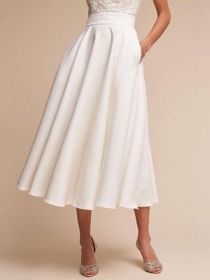 Short Wedding Dress V Neck Sleeveless A Line Tea Length Straps Bridal Gowns_5