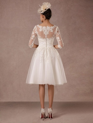 Short Wedding Dress Vintage Lace Applique Long Sleeves Tea Length A Line Tulle Bridal Gown With Flower Sash Exclusive_2