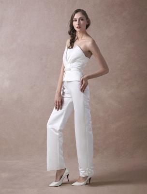 Wedding Jumpsuits Ivory Strapless Peplum Satin Bow Sash Long Bridal Jumpsuits Exclusive_6