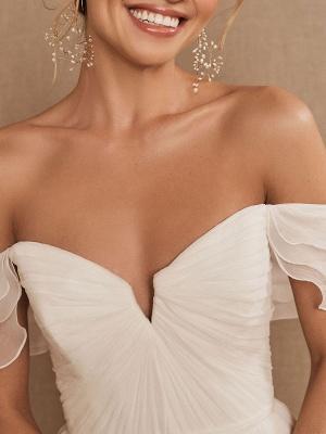 White Bridal Dress A-Line Bateau Natural Waistline Chiffon Back Zipper Floor Length Wedding Dress_3