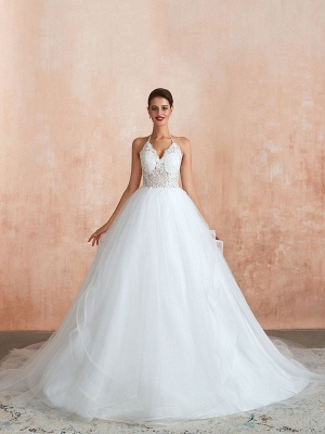 Wedding Dress 2021 Ball Gown Halter Sleeveless Floor Length Lace Tulle Bridal Gowns With Train_8