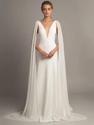 Robe de mariée simple blanche en tissu satiné à col en V sans manches à volants A-ligne longues robes de mariée_1