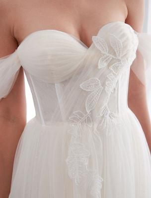 Brautkleider Tüll Elfenbein Schulterfrei Sweetheart Beach Brautkleid mit Schleppe_10