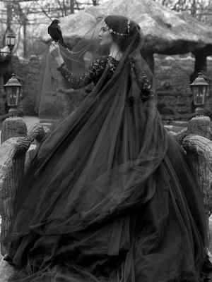 Gothic Brautkleider Prinzessin Silhouette mit langen Ärmeln Spitze Taft Hofzug Vintage Brautkleid_3