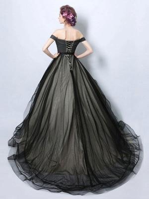 Vestidos de novia góticos leales Princesa silueta sin mangas plisado tul corte tren vestido de novia_2