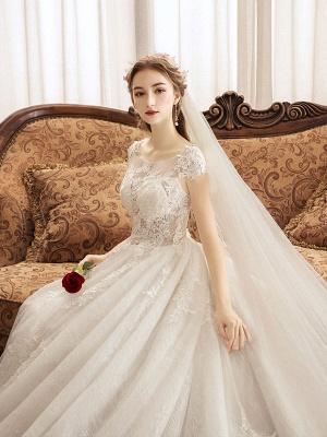Lace Wedding Dresses Princess Bridal Gown Ivory Jewel Neck Short Sleeve Bridal Dress With Train_6