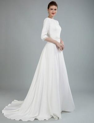 Einfache Hochzeitskleid Perlen Schärpe Rückenfrei Bateau-Ausschnitt Halbarm A-Linie Brautkleider Mit Hofzug Exklusiv_7