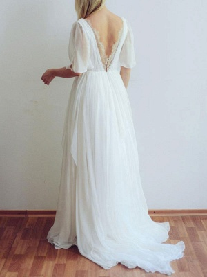 Simple Wedding Dress A Line Chiffon V Neck Half Sleeves Pleated Floor Length With Train Bridal Dresses_2