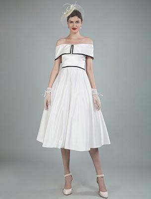 Vintage Brautkleider Satin Schulterfrei A Line Tee Länge Kurze Brautkleider Exklusiv_7