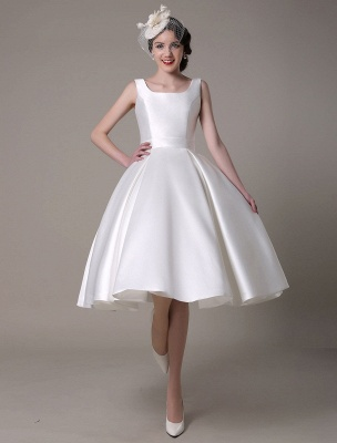 Ivory Wedding Dress Scoop Backless Knee Length Satin Wedding Gown Exclusive_3