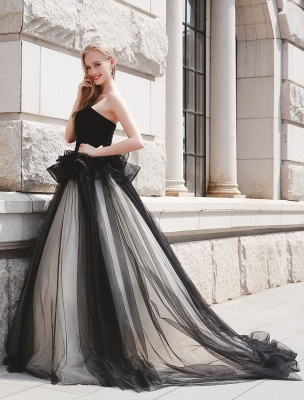 Schwarzes Festzug Partykleid Frauen Trägerlose Tüll Luxus Prinzessin Kleider_2