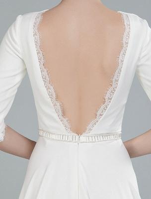 Einfache Hochzeitskleid Perlen Schärpe Rückenfrei Bateau-Ausschnitt Halbarm A-Linie Brautkleider Mit Hofzug Exklusiv_10