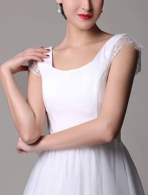 Simple Wedding Dresses Tulle Scoop Neck Knee Length Short Bridal Dress With Lace Cap Sleeves_9