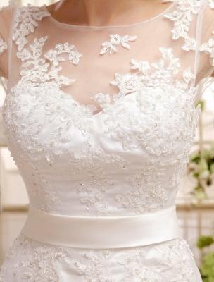 Kurze Brautkleider Elfenbein Spitze Applique Vintage Brautkleid Illusion Schatz Offener Rücken Tee Länge Brautkleider Exklusiv_6