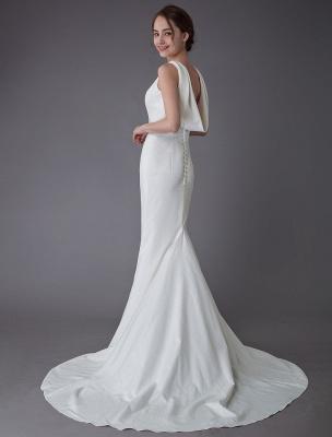 Brautkleider Elfenbein Mantel Einfaches Brautkleid mit Wasserfallausschnitt Strandhochzeitskleider mit Zug Exklusiv_1