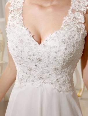 Strand Brautkleider Chiffon Elfenbein Brautkleid Spitze Perlen V-Ausschnitt Gericht Zug Sommer Brautkleid_7