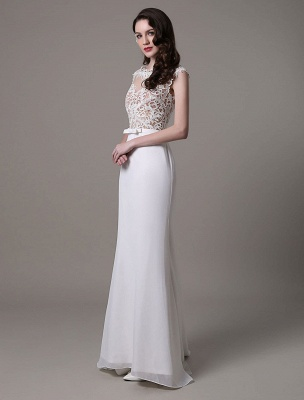 Vintage Wedding Dress Lace And Chiffon Sheath With Stunning Bateau Illusion Neckline And Illusion Back Exclusive_5