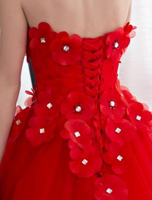 Elfenbein Brautkleider Prinzessin Ballkleider Brautkleid 3D Blumen Trägerlos Perlen Frauen Festzug Kleider_8