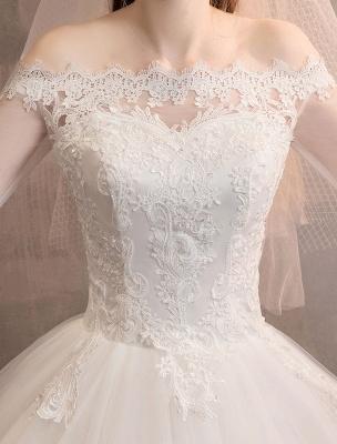 Spitze Brautkleider Elfenbein Schulterfrei Spitze Applique Prinzessin Brautkleid_7