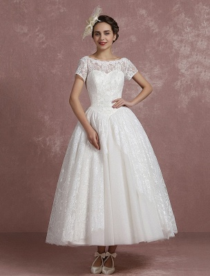 Princess Wedding Dress Lace Vintage Bridal Gown Sweetheart Illusion Short Sleeve Back Design Ball Gown Bridal Dress In Ankle Length Exclusive_4