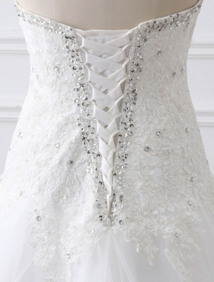 Tulle Wedding Dress Lace Beading Bridal Gown Strapless Sweetheart Chapel Train A-Line Backless Bridal Dress_14