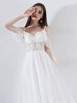 Short Wedding Dress 2021 A Line V Neck Short Sleeves Tea Length Bridal Dresses_6