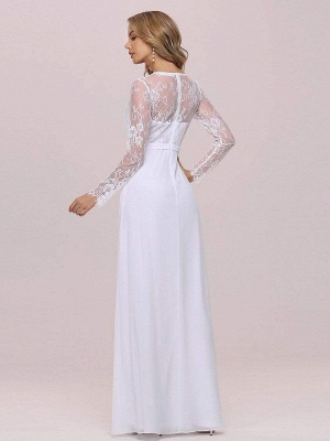 White Simple Wedding Dress Lace V-Neck Long Sleeves Lace Chiffon Pleated A-Line Long Bridal Gowns_8