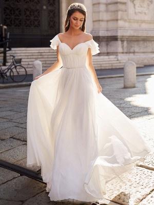 Einfaches Hochzeitskleid A Line Off The Shoulder Natürliche Taille Chiffon Brautkleider_1