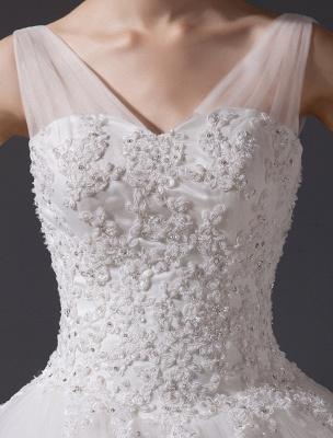 Brautkleider V-Ausschnitt Spitze Applique Brautkleid Pailletten Perlen Illusion Lange Kathedrale Zug Brautkleid_7