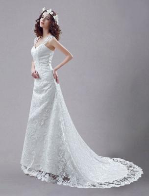 Weißes Brautkleid Queen Anne Mermaid Backless Lace Brautkleid_3