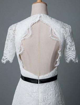 Einfache Brautkleider V-Ausschnitt Kurze Ärmel Mantel Knielang Vintage Brautkleider Exklusiv_7