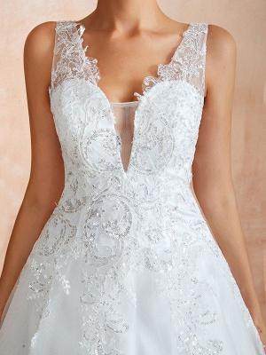 Wedding Dress 2021 V Neck Princess Sleeveless Floor Length Tulle Bridal Gown With Train_8