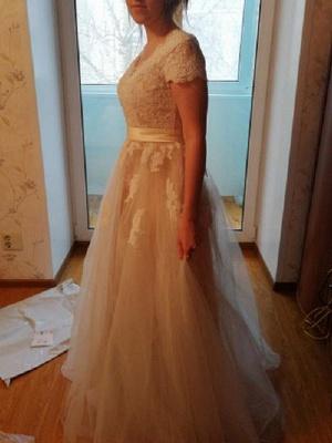 Vestido de novia 2021 Cuello en V Mangas cortas Apliques de encaje Hasta el suelo Tul Vestidos de novia tradicionales_5