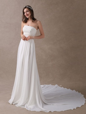 Beach Wedding Dresses Ivory Chiffon Strapless Lace Beaded Summer Bridal Gowns With Train Exclusive_2
