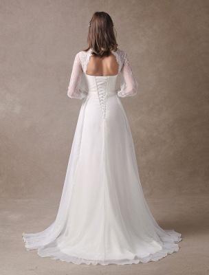 Weiße Brautkleider Langarm Spitze Chiffon Perlenstickerei Schärpe Illusion Strand Brautkleid Mit Zug Exklusiv_7