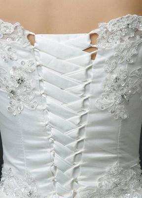 Vestido de novia de princesa fuera del hombro Vestido de novia con cuentas de encaje Vestido de novia de media manga blanco Vestido de novia con tren de la catedral_6