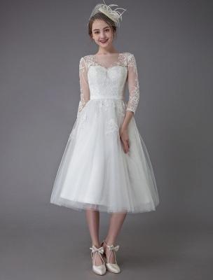 Vintage Wedding Dresses Tulle Bateau 3/4 Length Sleeve A Line Bridal Gown Short Bridal Dress Exclusive_4
